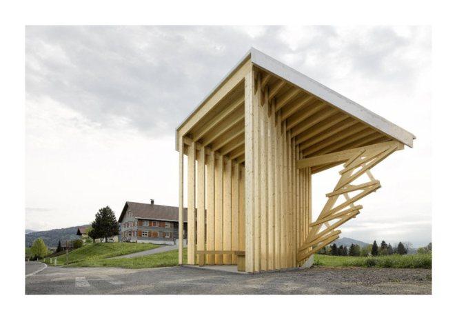 Bus stops in Austrian town